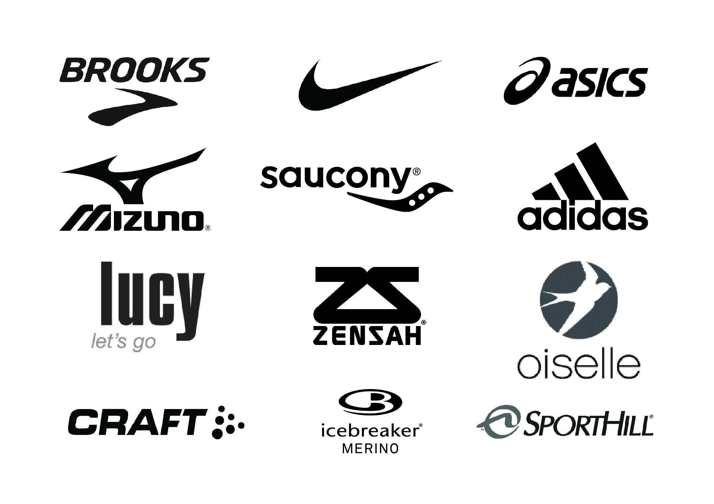 apparel logos brooks, asics, adidas, nike, saucony, mizuno, craft, icebreaker merino, lucy, zensah, oiselle, sporthill, activewear, running apparel
